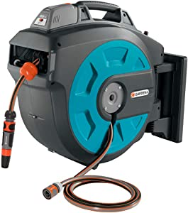 GARDENA Retractable Battery Operated Hose Reel 115-Feet With Convenient Hose Guide