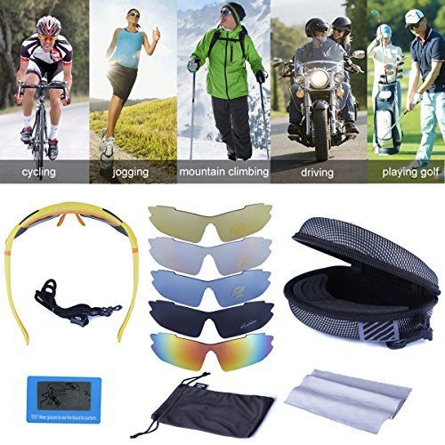 Polarized Sports Sunglasses Cycling Baseball Running Fishing Driving Golf Hiking Biking Outdoor Glasses with 5 Interchangeable Lenses Motorcycle Bicycle Riding Goggles for Men Women (yellow & orange) by LOVE'S (Image #2)