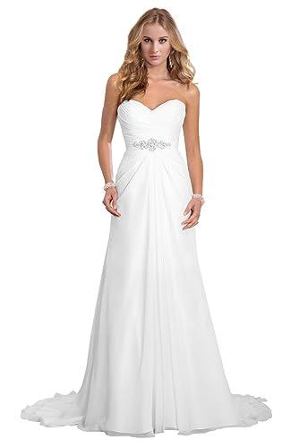 Dreambridal Simple A Line Chiffon Bride Wedding Dresses