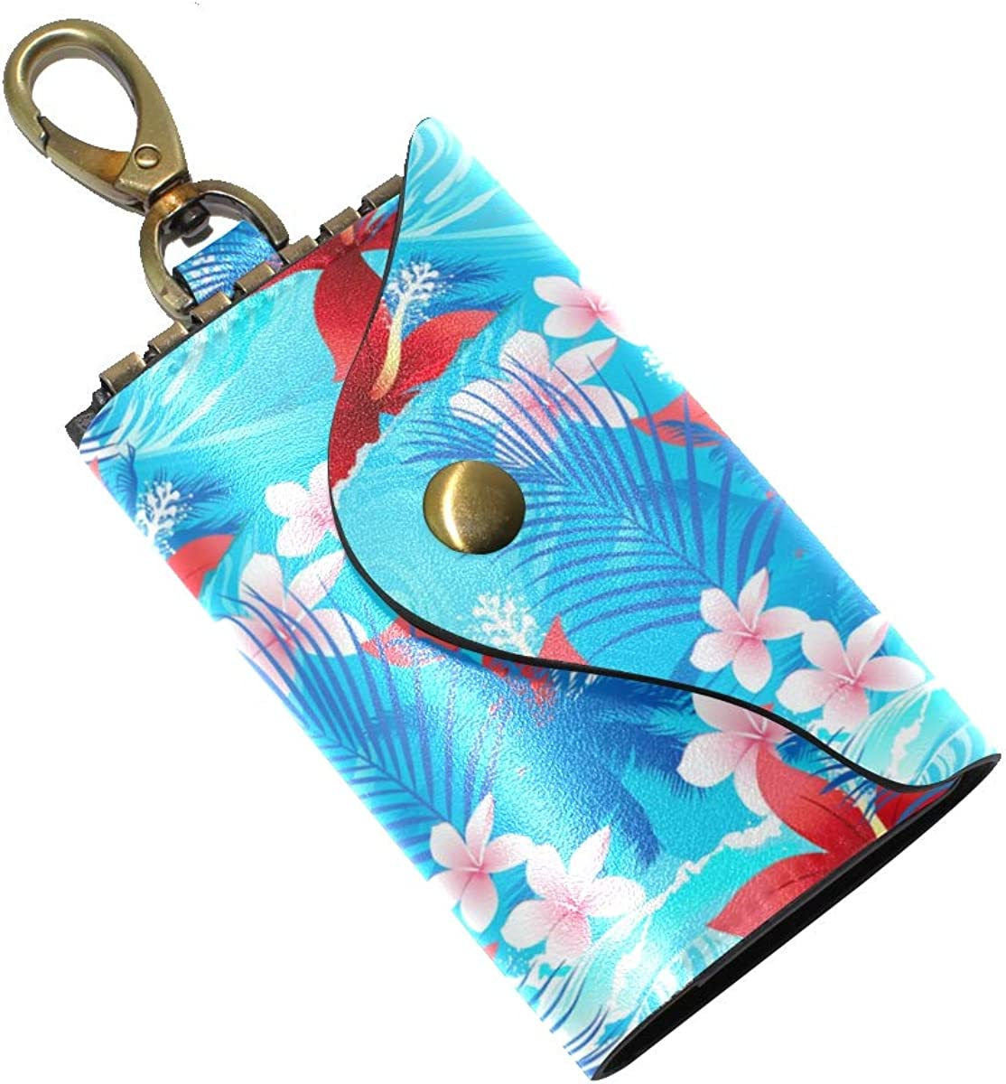 KEAKIA Colorful Leaves Pattern Leather Key Case Wallets Tri-fold Key Holder Keychains with 6 Hooks 2 Slot Snap Closure for Men Women