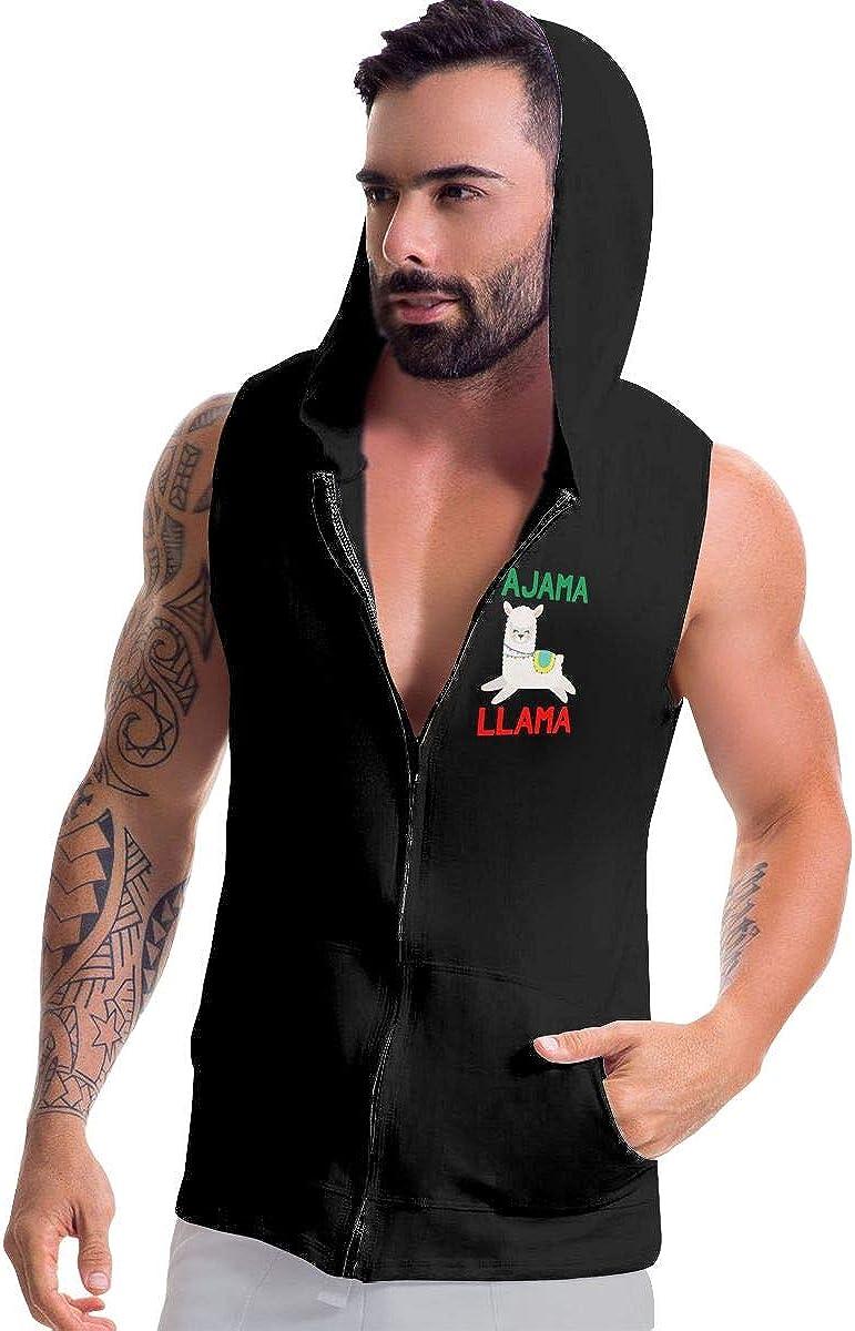 BB/&YYY Pajama Llama Mens Sleeveless Zipper Fleece Hoodie Bodybuilding Jacket