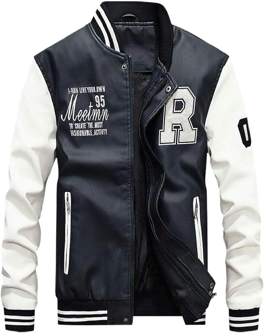 XQS Mens Full-Zip Pu Fleece Varsity Bomber Baseball Jacket Coat Outwear