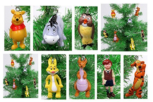 Winnie the Pooh Mini Holiday Christmas Ornament Set - Unique Shatterproof Plastic Design