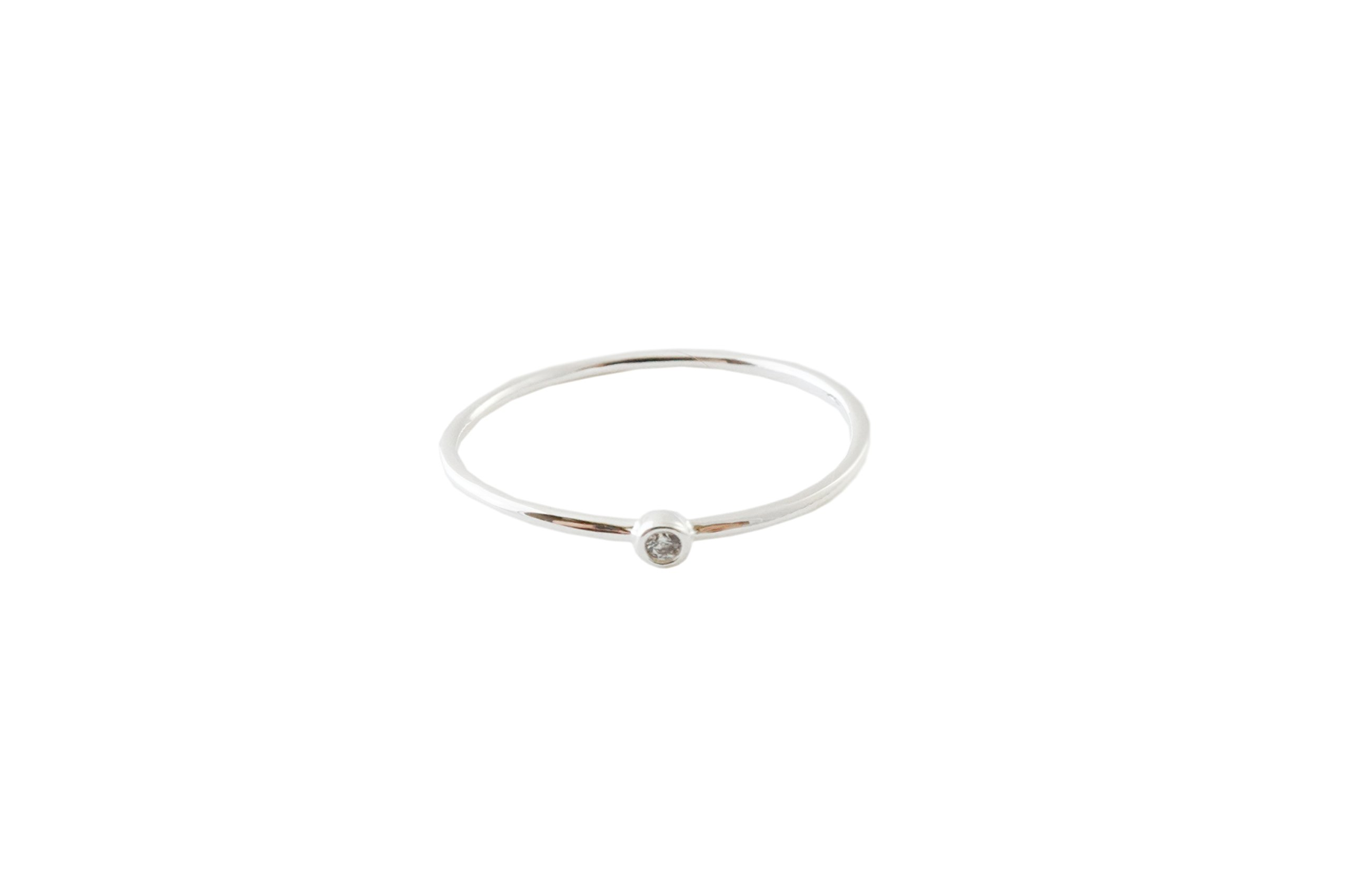 HONEYCAT Bezel Solitaire Ring in Gold, Rose Gold, or Silver | Minimalist, Delicate Jewelry (Silver, 6)