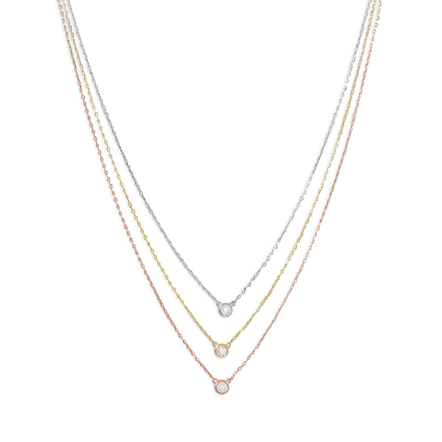 West Coast Jewelry 925 Sterling Silver Graduated Tri Tone Necklace with CZs 34031
