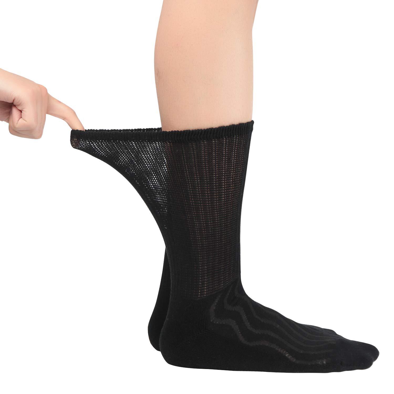 d85fb070e8 Amazon.com: MD 6 Pairs Non-Binding Men's Cushioned Moisture Wicking Bamboo  Diabetic Crew Dress Socks 13-15 Black: Health & Personal Care