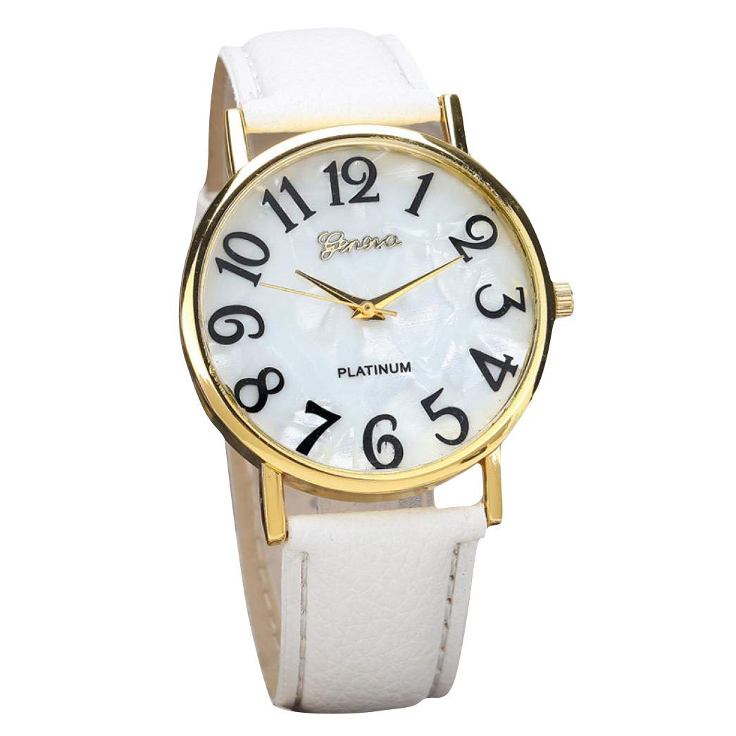 Auwer Fashion Women's Watch Analog Quartz Simple Easy to Read Black/White Leather Band Waterproof Dial Digital Display