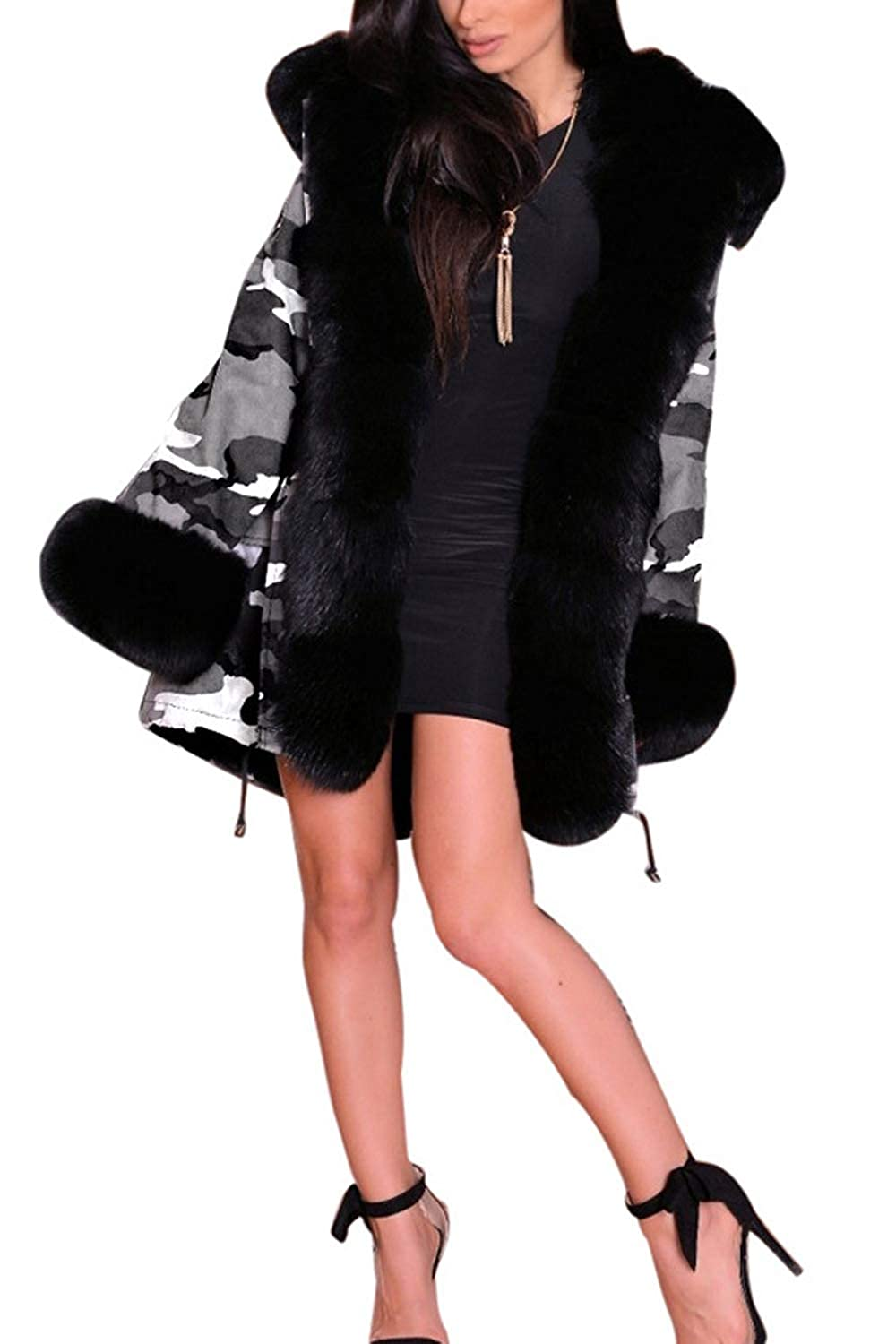 Sopliagon Womens Camouflage Hoodie Parkas Casual Furx Fur Thick Overcoat