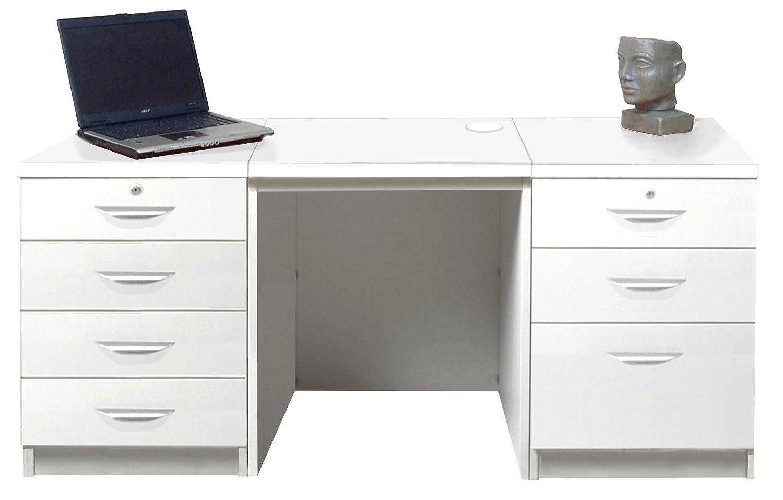 Home Mobiliario de Oficina UK Unidad de cajón de Escritorio portátil Mesa Mueble archivador de Juego de tamaño pequeño, Madera), Color Blanco Satinado, ...