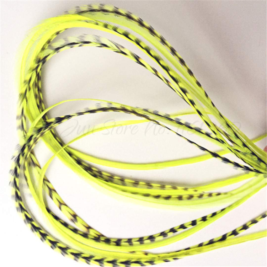 Hair Styling 10Pcs 6''-12'' Hand Dyed Chartreuse Color Feather Hair Extension Grizzly Accessories For Hair Feather Tools Hair Clip Dyed Chartreuse by SSJFZM