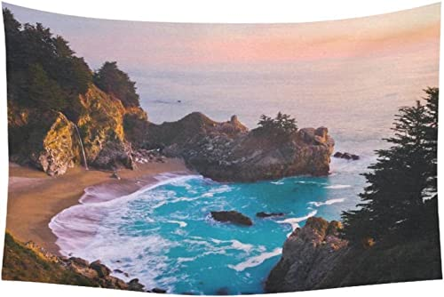 INTERESTPRINT Nature Landscape Wall Art Home Decor, California Ocean Waterfall Mountain at Sunset Tapestry Wall Hanging Art Sets 60 X 40 Inches