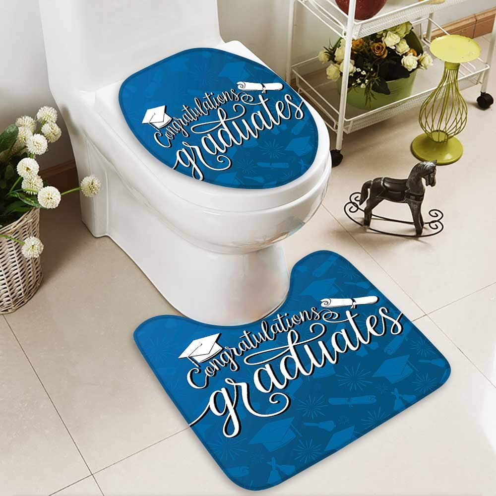 SOCOMIMI Bathroom Household Rug College Celebration Ceremony Certificate Diploma Square Academic Cap Blue and White Non Slip Comfortable SND Soft
