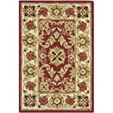 Cheap Safavieh Chelsea Collection HK157A Hand-Hooked Red and Ivory Premium Wool Area Rug (1'8″ x 2'6″)