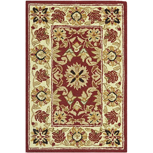 Safavieh Chelsea Collection HK157A Hand-Hooked Red and Ivory Premium Wool Area Rug (1'8