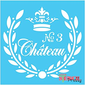 "Stencil - French Chateau Vintage Rustic Shabby DIY Sign Template Best Vinyl Large Stencils for Painting on Wood, Canvas, Wall, etc.-M (14"" x 13"")
