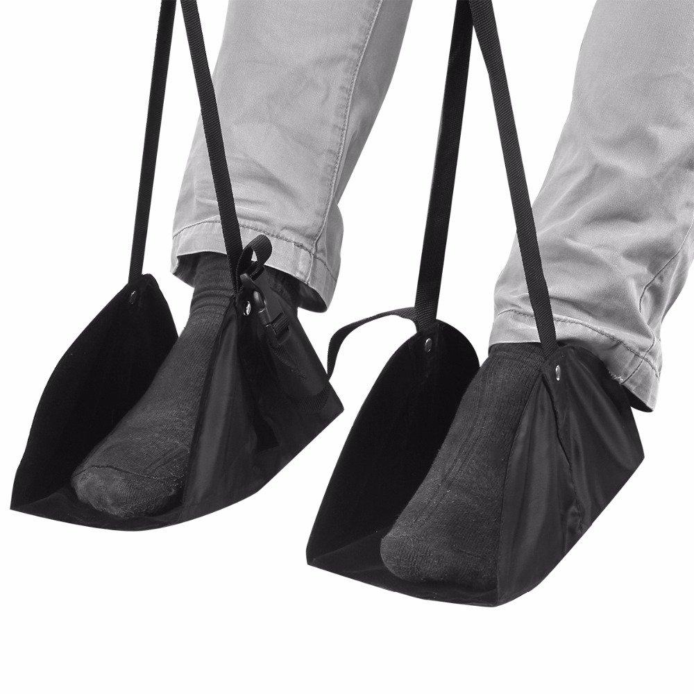 Gold Happy Portable Foot Rest Adjustable Travel Footrest Hammock Folding Flight Carry-on Swing Holder
