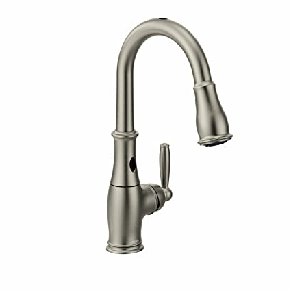 handle moen chrome p single home pullout matching faucet wand kitchen banbury with in en
