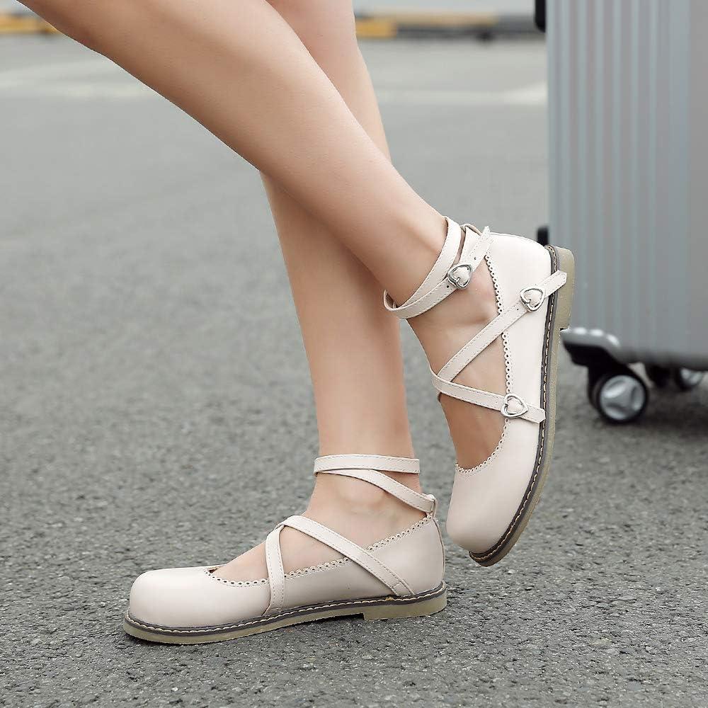 Garggi Ballet Flats Lolita Chaussures Femmes Confort Bride Cheville Bout Rond Dolly Chaussures