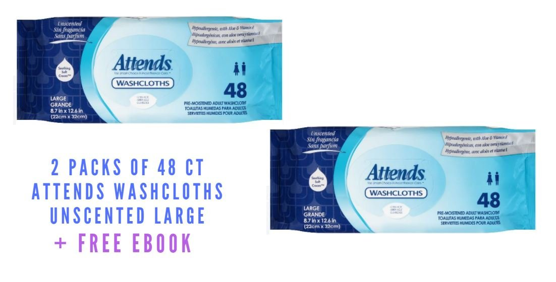 Amazon.com: Attends Washcloths Unscented Large, 48 Count (2 Packs of 48 Ct + Free Ebook): Health & Personal Care