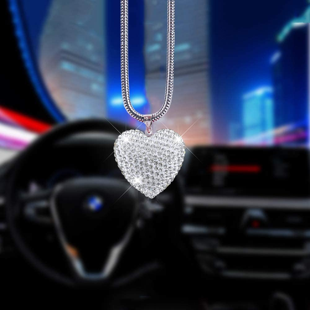 Alotex Bling Car Accessories for Women White Heart Hanging Car Decoration Bling Car Rear View Mirror Charms Pretty Rhinestone Crystal Car Pendant Interior Ornament Accessories (White Heart)