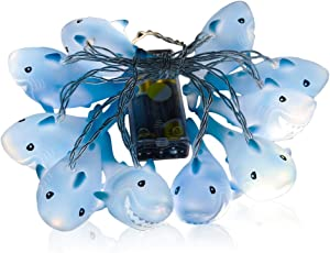 GZMAY Indoor Outdoor Decor Shark String Lights,4.9ft Battery Operated 10 LED Decorative for Home Party Children Kids Bedroom Decoration Hanging String Lights