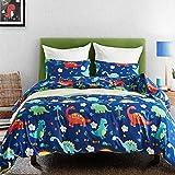 Macohome Kids Duvet Cover Set Dinosaur Twin Size Boys Cartoon Soft Microfiber Bedding Set with 1 Envelope Pillowcase (Dinosaur, Twin)