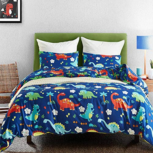 Macohome Kids Duvet Cover Set Dinosaur Queen Size Boys Cartoon Soft Microfiber Bedding Set with 2 Envelope Pillowcases without comforter and sheet(Dinosaur , Queen)