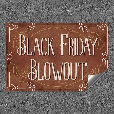 CGSignLab |''Black Friday Blowout -Victorian Card'' Heavy-Duty Industrial Self-Adhesive Aluminum Wall Decal | 36''x24''