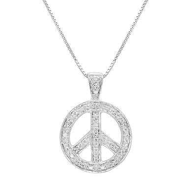 Amazon diamond peace sign pendant necklace in sterling silver diamond peace sign pendant necklace in sterling silver on an 18in box chain mozeypictures Choice Image