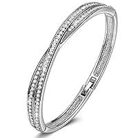 Susan Y Croix Bracelet pour Femme avec des Cristaux Swarovski Clair, Cadeau Noēl, sans Nickel, Emballage Cadeau Chaque Moment spécial
