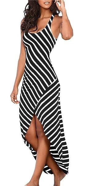Vestiti Donna Eleganti Estivi Ragazza Vestito Lungo A Strisce Hem  Irregolare Abito Maxi Senza Maniche Spiaggia Abiti Mare Casual Moda Spacco  A Righe ... dc1958727b4