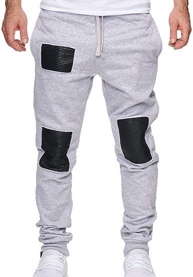 Pantalones Hombre Trabajo Bolsillos Empalme Impreso Pantalones ...