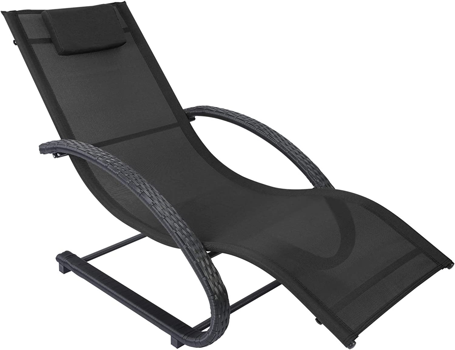 AGESISI Outdoor Patio Lounge Chair Reclining Chair Textilene Mesh Chaise with Hand-Woven Wicker Rattan Armrest and Pillow for Beach Yard Pool Garden Balcony, Black
