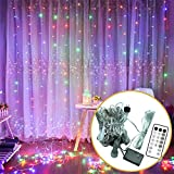 WATTA 300 LED Window Curtain String Light,9.8ft x 9.8ft,USB & Battery Powered Available,8 Modes with Remote Control,Fairy Twinkle String Lights for Indoor Decoration Home Christmas Wedding(Multicolor)