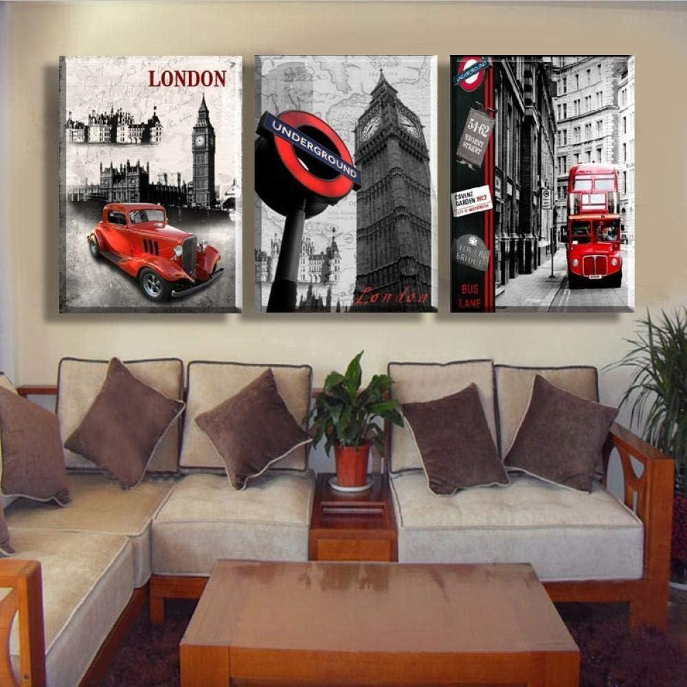 Générique Cuadro Decorativo sobre Lienzo, diseño de Londres Big Ben Coche Rojo Bus City Wall Decor Photo Art HD impresión Moderna casa Tipo 3 Piezas Paisaje Pintura sobre Lienzo Oeuvre30 x 40 cm