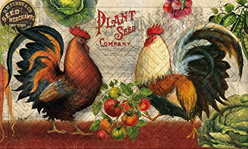 Evergreen Farm Rooster Embossed Floor Mat, 18 x 30 inches