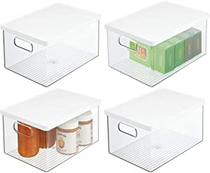 mDesign Plastic Stackable Kitchen Pantry Cabinet, Food Storage Bin Box with Handles, Lid - Organizer for Packets, Jars, Snacks, Pasta, 4 Pack - Clear/White