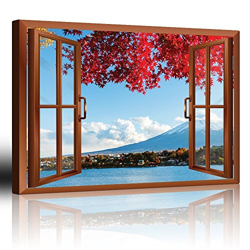 Copper Window Looking Out Into a Red Tree That Frames Mount Fuji