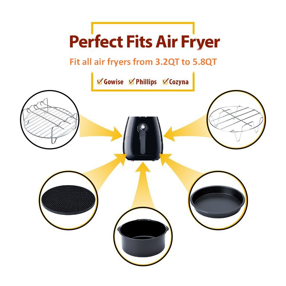 Deep Fryers Universal Air Fryer Accessories Including Cake Barrel,Baking Dish Pan,Grill,Pot Pad, Pot Rack with Silicone Mat by Bellagione (8 Pcs) by Bellagione (Image #3)