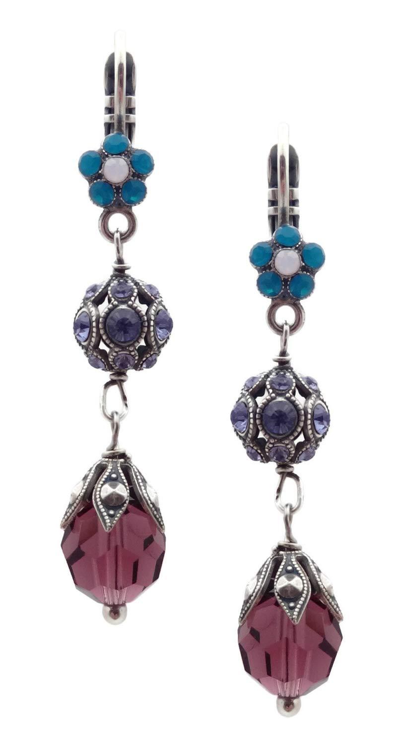 Mariana Peacock Swarovski Crystal Silvertone Earrings Teal & White Flower with Purple Dangle 2139