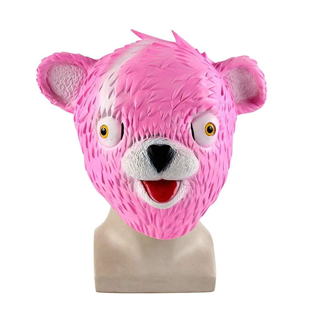 Halloween Christmas Cosplay Mask Fortnite Pink Bear/Fox Latex Helmet