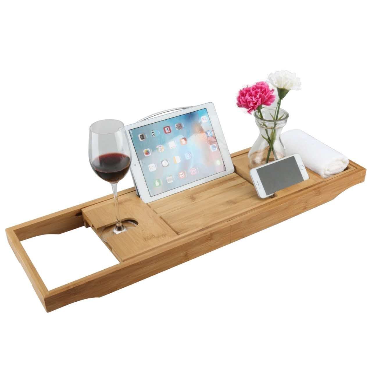 Luxury Wood Bamboo Bathtub Bath Tub Caddy Tray with Extending Sides ...