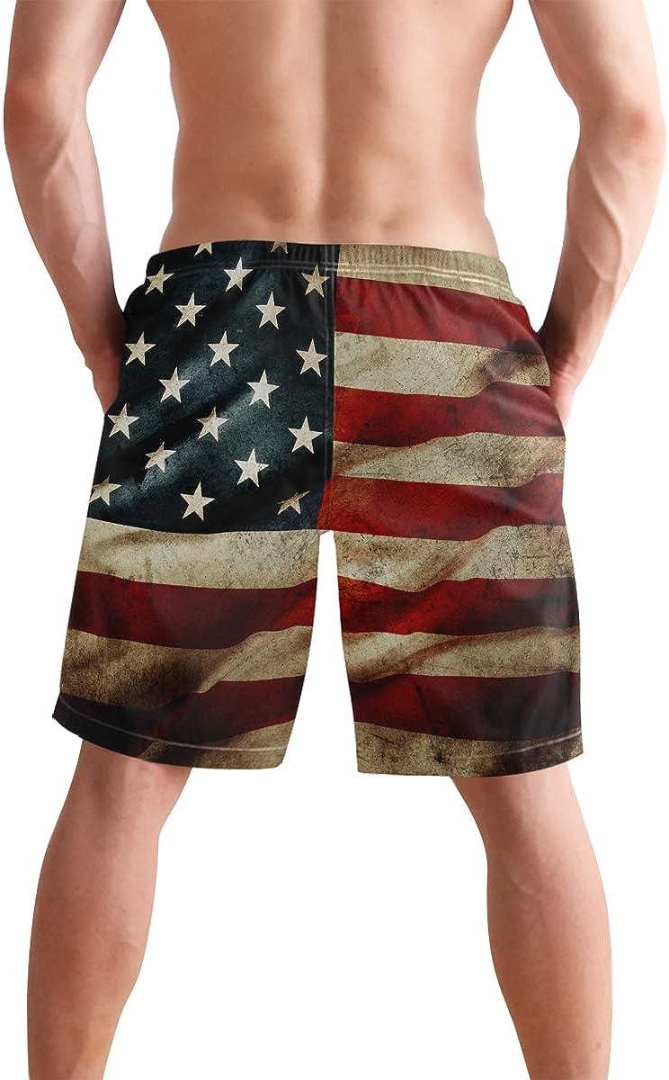 Quick-Dry Mens Beach Shorts USA Grunge Flag Swim Trunks with Adjustable Drawstring