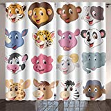 Analisahome cartoon animal head collection set Bedroom/Living Room/2 Panels