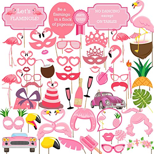 45 Pcs Flamingo Photo Booth Props, Birthday Wedding Photobooth Props Party Favors Supplies Decorations