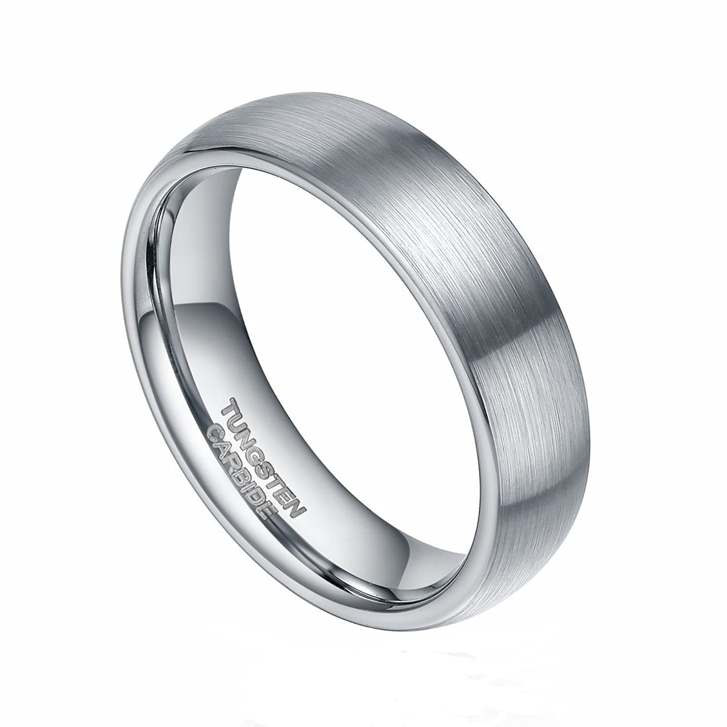 6mm 8mm Silver Tungsten Rings Mens Women Matte Brushed Dome Wedding Band Comfort Fit Size 4-13
