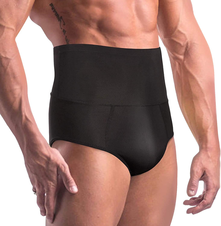 Men High Waist Compression Pants Boxer Shorts Tummy Trimmer Body Shaper Girdle