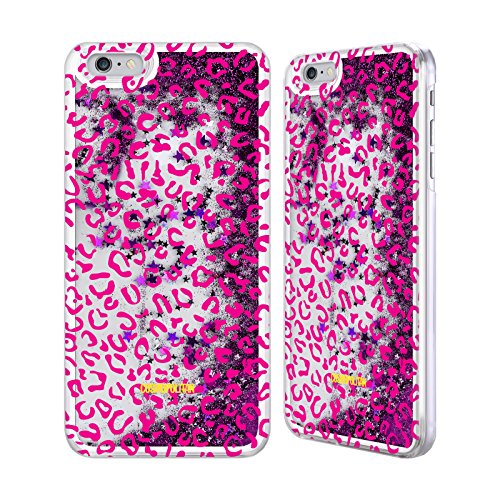 Official Cosmopolitan Pink Leopard Animal Skin Patterns Purple Liquid Glitter Case Cover for Apple iPhone 6 Plus / 6s Plus