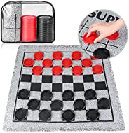 3 in 1 Giant Checkers Set, Classic Indoor Outdoor Yard Games for Family Fun and Parties, Jumbo Connect 4 Board