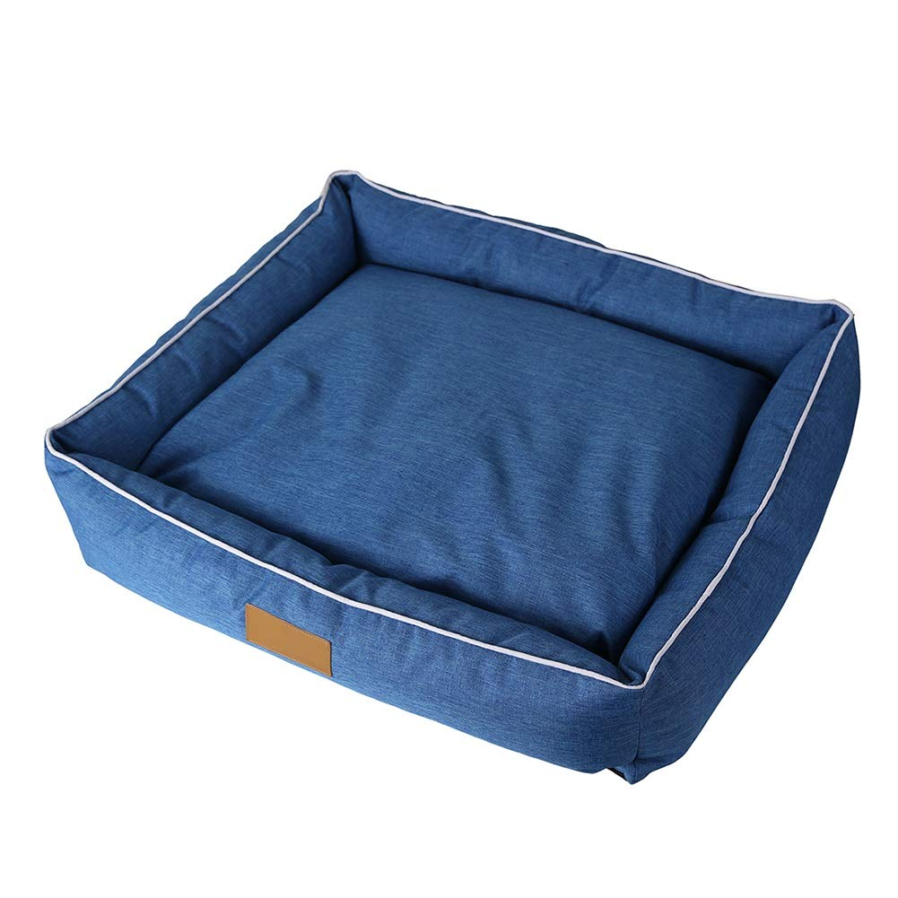 L(655515cm) LSS Pet Bed Waterproof Sofa Breathable Removeable Cover Cushion For Cat Dog Denim bluee (Size   L(65  55  15cm))